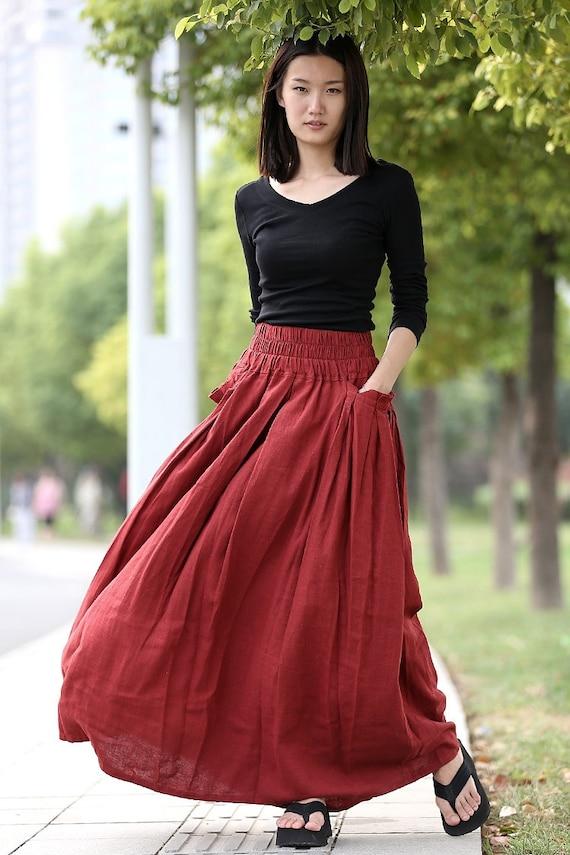 Red linen skirt maxi skirt long skirt - C286