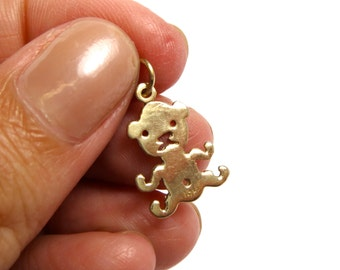14k Yellow Gold Teddy Bear Pendant Charm