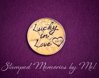 Lucky in Love - Hand Stamped Penny for Luck - Pocket Token - Anniversary, Wedding, Engagement Gift - Personalized Year with Heart Stamp