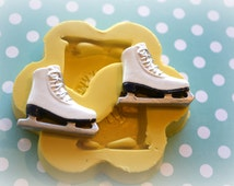 DM0126 Ice Skates Silicone Rubber Flexible Food Safe Mold Mould- resin, decoden, clay, fondant, cupcake topper, candy, butter pat