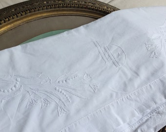 Antique French Art Deco hand embroidered bed sheet with monogram and flowers for project rescue textile period fabric Country cottage style
