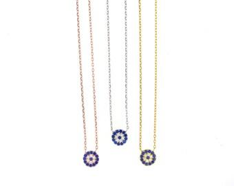Mini Elegant Evil Eye Necklace-Silver