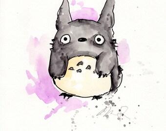 Totoro Original Painting 8x10 inches, My Neighbor Totoro inspired. Hayao Miyazaki