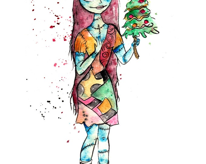 Sally and Tree 8.5x11 inch inkjet print The Nightmare Before Christmas Inspired Watercolor Painting, / Disney Fan Art