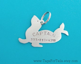 Sea Lion Pet Tag - Custom Dog or Cat Pet ID Tag- Handmade