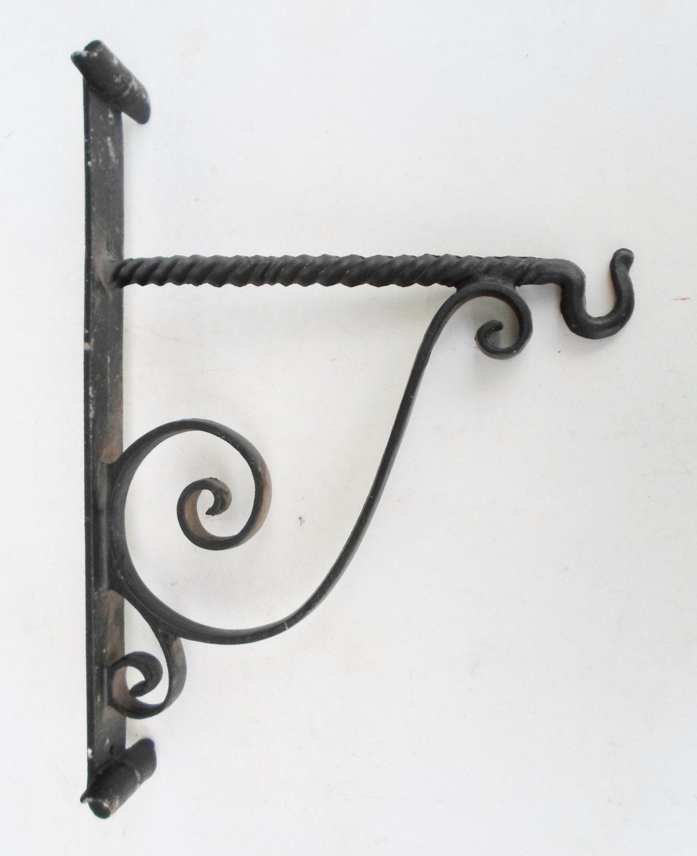 Vintage Black Cast Metal Plant Hanger Wall By