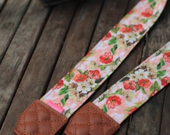 Personalize Camera Strap - Red China Rose for DSLR and Mirrorless