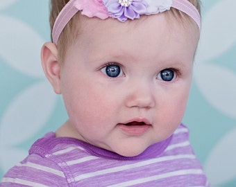 Baby Headband, Infant Headband, Newborn Headband, Light Pink, Lavender, and White Headband, Easter Baby Headbands, Headband, Easter Headband