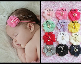 You Pick 3  Baby Headband, Infant Headband, Newborn Headband, Toddler Headband, Girls Headband, Chiffon flowers