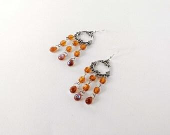 Topaz chandelier earrings handmade with topaz glass beads. ooak made in Italy