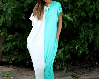 White and Mint Caftan, Maxi dress, Oversized dress, Caftan dress, Kaftan, Abaya, Casual Dress, Beach dress, Cover up dress