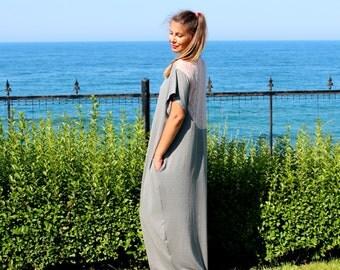 Grey Caftan, Maxi dress, Plus size dress, Lace dress, Summer dress, Casual dress