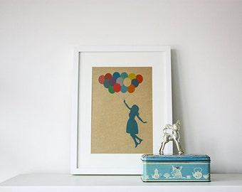 Balloon art print, illustration balloon girl on kraft paper