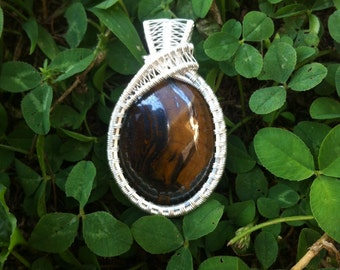 Tiger Iron Sterling Silver Wire Wrapped Pendant