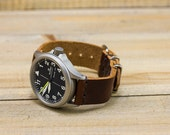 Leather Watch Strap Horween Leather Coffee Bean Polished Hardware