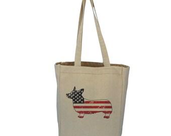 Corgi Patriotic Americana Dog Tote Bag