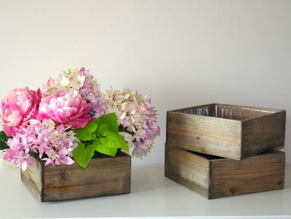 Wood Box Wooden Boxes Vase Succulent Planter Wedding