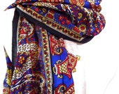 White Silk Scarf, Silk Sari Scarf, Paisley Scarf, Blue Scarf, Indian Scarf, Recycled Silk Scarf, Silk Sari Scarf