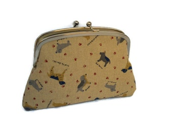 Dog wallet in beige linen with 2 compartments in black, doggy animal coin purse