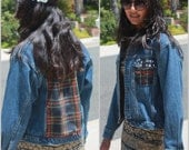 Vintage Distressed 90s Denim Jacket with Plaid Patched Flannel Paneling and Studded Pockets