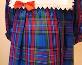 Girls Blue Holiday Plaid Dress  - sizes 6 months and 4T