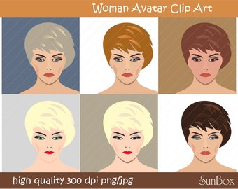 Woman Avatar clip art, digital PNG clipart 6 ClipArt Images for cards, scrapbooking  - instant download - CU OK