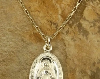 Sterling Silver Miraculous Medal Pendant on Sterling Silver Drawn Box Chain Necklace  - (1187)