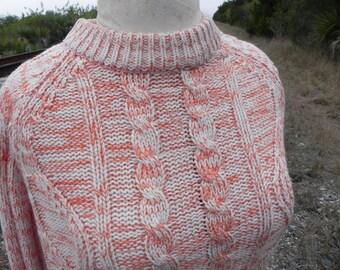 Orange and White Marled Sweater