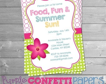 Printable Summer Party Invitation with Pink Flower - Summer BBQ, Pink Flower, Pool Party, Summer Party, Food Fun & Summer Sun, 5x7