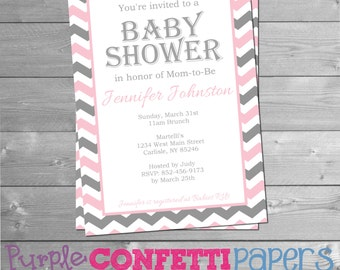Baby Girl Pink Gray & White Chevron Baby Shower Invitation Printable Baby Shower Invitation 5x7 Invitation