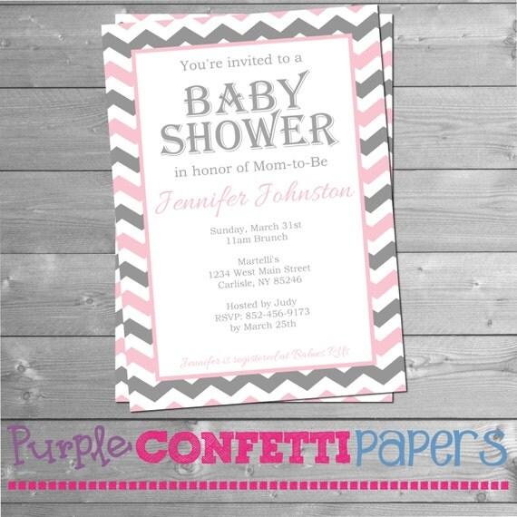 pink gray white chevron baby shower invitation printable baby shower
