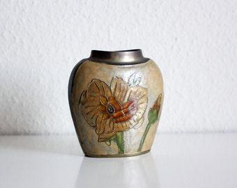 Vintage Brass Vase with floral elements motif - colored glaze 1960
