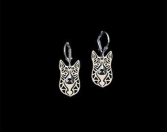 Australian Cattle Dog earrings - sterling silver