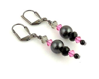 Dark Gray and Pink Crystal Dangle Earrings, Beaded Earrings, Glass Bead Earrings, Fashion Jewelry, Gifts