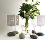 Mint Green 6 Table Number Holders For Your Beach Wedding Using Natural Green Maine Beach Stone
