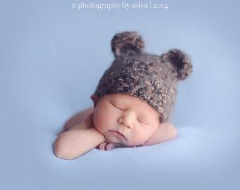 Crochet Fuzzy Bear Hat,Newborn to Toddler Bear Hat
