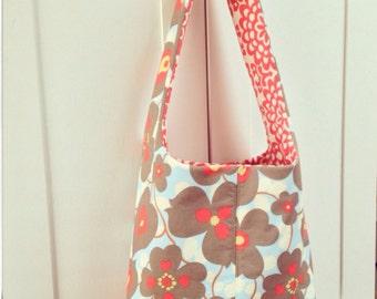 Shoulder Tote Bag - Amy Butler Morning Glory Lotus Wallflower - Reversible
