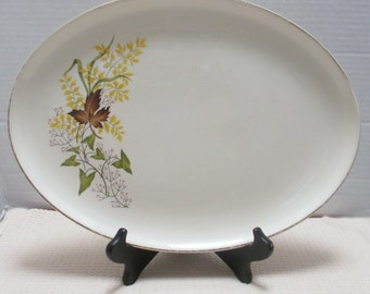 Taylor Smith & Taylor Leaf o'Gold Pattern - 13 Inch Oval Platter - Versatile Shape with Gold Trim