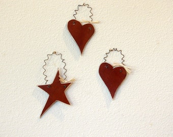 Leather Hanging Hearts and Stars - Set of 3