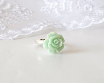 Mint Rose Cabochon Ring - Adjustable Silver Plated Ring