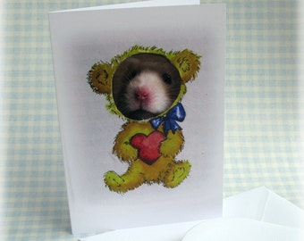 Teddy Bear Hamster Card Love Heart Valentine Declaration Cute Fun Greetings Notelet