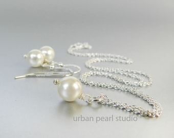 Bridesmaids Jewelry Set Under 25 Dollars Swarovski Pearl Pendant Necklace Earrings Set Simple Pearl Drop