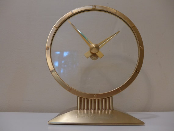 Jefferson Golden Hour Mystery Clock 1950s Art Deco Floating