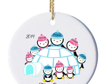 Personalized Family of 9 Christmas Ornament, Penguin Family