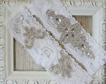 Customize Your Garter Set - Vintage Wedding Garter Set with White Rosette and Rhinestones on Comfortable Lace, Crystal Garter Set
