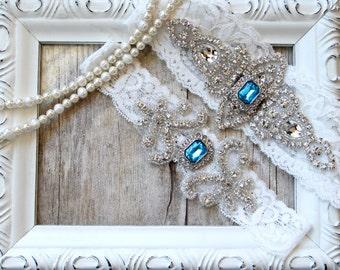 Customizable Garter Set - Wedding Garter w/ toss - Aqua Blue Garter, Something Blue, Crystal Garters, Bridal Garter, Rhinestone Garter