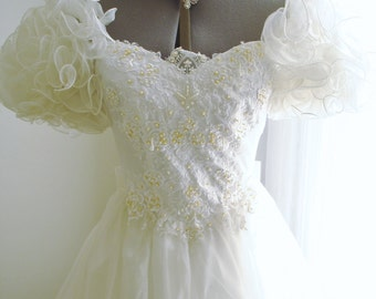 Vintage Ruffled Wedding Dress Lady Antebellum Styled with Beading and Lace Accents on Organza