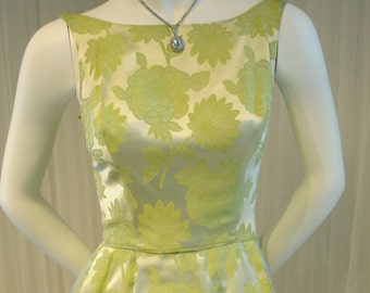 Vintage Sleeveless Maxi Evening Gown in Lime Green Shimmer Brocade