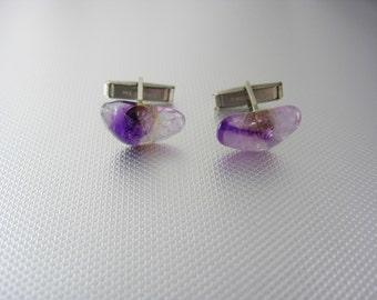 Purple Amethyst Stone Irregular Cufflinks Vintage Silver Ladies Men Patent Wedding Valentines