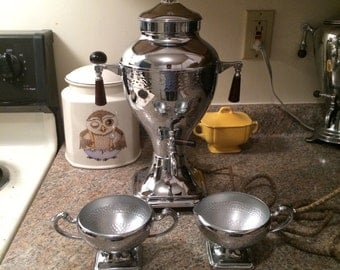 Vintage 1930s Keystoneware Chrome Art Deco Coffee Set - Percolator Pot Creamer & Sugar - Looks Barely Used